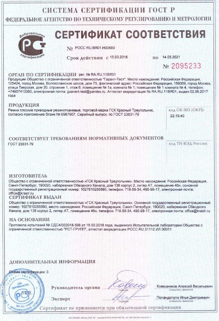 Сертификат на ремни плоские приводные резинотканевые 2018-2021 годы